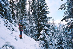 Hike of love. (Hello i'm Wild !) Tags: trees winter light sky snow mountains film me nature analog 35mm myself freedom holidays hike breathe canonae1 kodakportra400