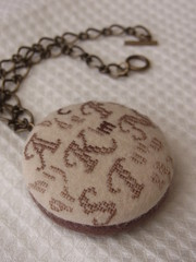 bag_charm001 (amujpn) Tags: crossstitch letter alphabet initial talisman bagcharm chocolatebrown handembroidery