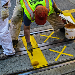 X-men in SF (MyArtistSoul) Tags: sanfrancisco california street urban yellow square workers paint xx tracks riding streetcar 8866 canona720is