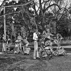 Rest Stop (Tim Noonan) Tags: new bw digital photoshop spring cell moms rest babys strollers iphone carriages awardtree