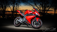 R125 - Colours (jasoncstarr) Tags: sunset red lightpainting canon flash motorcycles bikes sigma motorbike yamaha sportbike lams sportsbike armidale 2470mm lightpainted 70d r125 430exii canoneos70d sigma2470mmexdgmacrolens