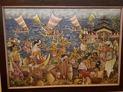 Painting of life in a fishing village by the sea in the Puri Lukatan art museum in Ubud.. (mountaintrekker2001) Tags: h