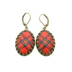 Ancient Romance Series - Scottish and Irish Tartans Collection - Royal Stewart Tartan Earrings in 18x25mm Crown Edge Bezel Setting