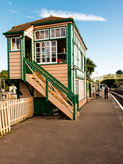 Of Bygone Times (Keith in Exeter) Tags: corfe castle signalbox railway train station dorset england platform people passenger stationmaster footbridge heritage outdoor tourism