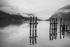 Pertisau July 2014 (Roger Hanuk) Tags: achensee austria harbour lake lowcloud object pertisau post reflection tyrol
