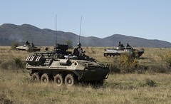 U.S. light-armored vehicles and Bulgarian BMP-1s conduct mechanized integration training in preparation for a joint assault rehearsal during Platinum Lion 16-1 at Novo Selo Training Area, Bulgaria, Oct. 28, 2015. (k.aksoy93) Tags: bmp1 stryker