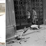 SAIGON 1968 - The bodies of victims of a rocket attack lie in front of a building at 213 Tu Do Street in Saigon during the Tet Offensive thumbnail