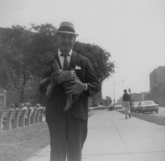 Posing with the Dog 1960's (Vintage car nut) Tags: old vintage antique hat suit tie dog street scene 1960s
