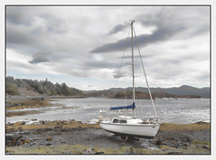 Low tide in Badachro (judmac1) Tags: water boat sheltered badachro westerross harbour scotland highlands coast silver clouds sky peaceful tranquil