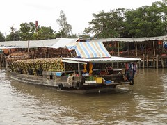 Ready for work (program monkey) Tags: vietnam mekong river delta cargo boat ben tre tra vinh coconut processing factory arrival dock bank water loaded
