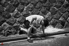 Regurgitate (gullevek) Tags: blackandwhite drunk fujixt1 fujifilm fujinonxf35mmf2rwr jp japan night people street things tokyo tokyoto vehicles モノクロ 乗物 人間 夜 日本 東京 東京都 道 shibuyaku tōkyōto vomit 吐 泥酔 沈酔 吐物