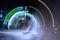 Vortex (Trevdog67) Tags: downtown moncton centreville newbrunswick nouveaubrunswick downingstreet downingplace monctonpubliclibrary early morning lightpainting kineticphotography layers composite stack vortex wormhole timetravel terminator scifi sciencefiction bubble nikon d7100 nikkor 18300mm manfrotto tripod axis rotation spin