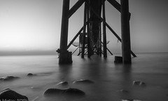Carrelets d'Esnandes -Silver Water (Seb_17) Tags: carrelets esnandes black white sea mer longue pose water night beach bw blackandwhite