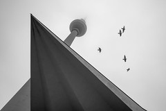 Cross composition (dlorenz69) Tags: alexanderplatz berlin germany monochrome cross architecture place up tower tv fernsehturm tauben sky himmel fog nebel stratus herbst autumn