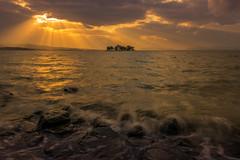 sunset 1705 (junjiaoyama) Tags: japan sunset sky light sun sunshine cloud weather landscape golden contrast colour bright lake island water nature fall autumn rays beams rough wave