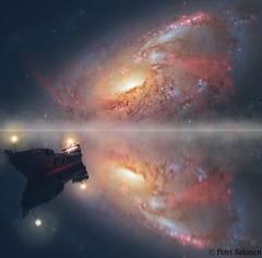 Lake of silence (petrisalonen) Tags: landscape galaxy space photoshop photoshopart photoart art lake ship reflection silence
