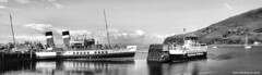 Scotland West Highlands Argyll paddle steamer Waverley and car ferry Loch Tarbert at Loch Ranza 29 May 2016 by Anne MacKay (Anne MacKay images of interest & wonder) Tags: scotland west highlands argyll paddle steamer waverley caledonian macbrayne car ferry loch tarbert ranza pier monochrome blackandwhite hs30 29 may 2016 picture by anne mackay