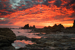 California Sunset (Roving Vagabond) Tags: coronadelmar ca california socal ocean sea sand rock water sky could reflection seascape landscape mar outdoor sunset serene dusk cloud explore