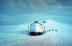 (ystein Aspelund) Tags: snow snowscape boat minimal nature white color 35mm film expired