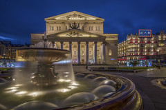 The Bolshoi Theatre Rapid Blend If (JRE313) Tags: bight night blue hour waterfall hdr outdoor theater russia moscow europe landscape city building bubble range sky twilight no people