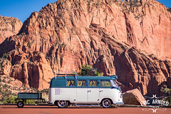 Bussin' in Zion (Eric Arnold Photography) Tags: vw volkswagen bus van kombi camper split window splitty blue white trailer singlewheel pressed bumper bullets logo emblem chrome safari transporter cyclops light headlight zion np national park utah cedar city ut magazine featuer shoot photoshoot canon 80d subhatch hatchtop roof rack nature tree trees road outdoor