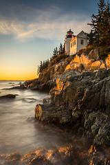 Lighthouse (hjuengst) Tags: usa light lighthouse bassharbor sunset acadianationalpark longexposure