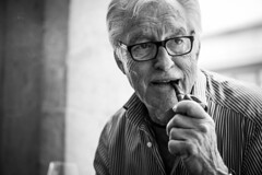 Portrait with a pipe between the teeth (Giulio Magnifico) Tags: portrait pipe streetphotography aged smoker udine blackwhiteportrait nikond800 nikkormicro105mmafsvrf28