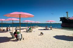 sugar-beach_umbrellas_plane_ship_kid_summer_01 (daily dose of imagery - archive) Tags: toronto ontario canada alt can winner ddoi ddoi2013