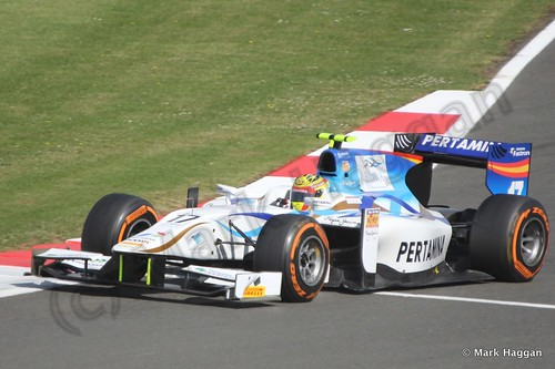Rio Haryanto in the second GP2 race at the 2013 British Grand Prix