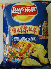 Pepsi Cola and Chicken Flavor Lay's Potato Chips !? (Phreddie) Tags: china food chicken flavor yum cola crisp potato snack pepsi lays chios 130807