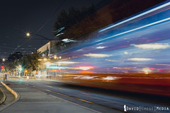 night train (DavidChege) Tags: california city longexposure travel red sky lines night speed train lights nightshot sandiego trolley transport slowshutter locomotive