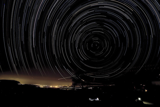 star trails over chania