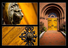 Entrance Door - Smithsonian Institution Building (FlickR Explore 12.10.2013) (S.R.Murphy) Tags: door usa architecture washingtondc districtofcolumbia triptych unitedstates unitedstatesofamerica montage mosiac polyptych doorhandle lionshead doorknocker historicalbuilding lionhead flickrexplore archeddoor smithsonianinstitutionbuilding october2013 lightroom4 sonynex6