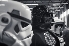 Vader & Friends (Gilderic Photography) Tags: bw white cinema black film festival canon fun eos starwars costume europe raw noir belgium belgique belgie cosplay stormtroopers nb convention scifi sciencefiction darthvader cinematic ghent gent blanc gand facts 500d gilderic