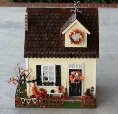 Halloween House (*Joyful Girl  Gypsy Heart *) Tags: fall halloween leaves pumpkins cottage rooster distressed dollhouse shabby weatherwave notsospooky joyfulgirlgypsyheart