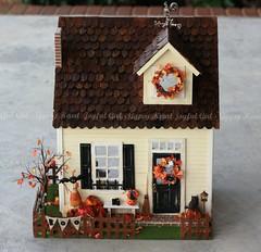 Halloween House (*Joyful Girl ♥ Gypsy Heart *) Tags: fall halloween leaves pumpkins cottage rooster distressed dollhouse shabby weatherwave notsospooky joyfulgirlgypsyheart