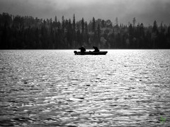 On a Silver Lake (Rock Steady Images) Tags: camera friends vacation people blackandwhite bw lake ontario canada contrast canon boat fishing events coworker places equipment cameras processing handheld motor retired 50views topaz tilley powershots100 25views houstonlake niksoftware bypaulchambers wayneshaw davejacklin lightroom4 photoshopcs6 rocksteadyimages