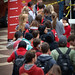 Students wait in line at