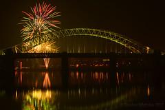 Fireworks (Stephen Whittaker) Tags: bridge light reflection water weather television night fire nikon fireworks explosion railway firework bonfire granada works runcorn widnes d5100 whitto27