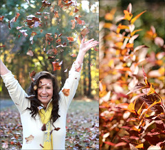 fall merging (Camille Wilson Photography) Tags: portrait orange fall leaves canon mom 50mm