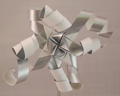 Silver White Curled (lacecrazy) Tags: paperfolding silverwhite paperstrips curledends foursidedstars