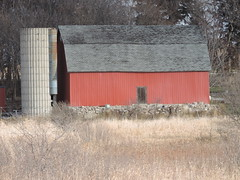 Red Barn (rabidscottsman) Tags: scotthendersonphotography squareformat barn farm rural nikon minnesota nikonp520 pointandshoot p520 coolpix red fall autumn lonsdaleminnesota building silo travel day327 highway19