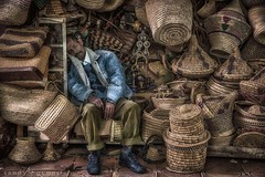 A Long Days Work-Marrakech-Morocco (anasshafiq) Tags: africa city travel november blue sleeping man yellow ma adult market sleep stall morocco jacket tired baskets marrakech asleep solitary shopkeeper 500px ifttt