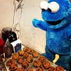 Cookie Monster is very excited.
