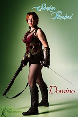 SP: Domino (3) (FightGuy Photography) Tags: tattoo boots goggles fishnet tattoos redhead armor sword shorthair shorts shotgun grenade abbi suckerpunched fightguyphotography
