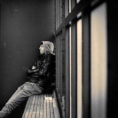 Sleeping (CorH) Tags: street city portrait people urban blackandwhite bw white black monochrome blackwhite belgium belgie candid streetphotography antwerp antwerpen straatfotografie corh