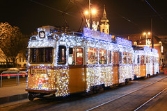 Christmas tram in Budapest 30 (Romeodesign) Tags: christmas xmas winter station night weihnachten festive lights licht hungary nacht trolley budapest tram promenade streetcar 19 buda strassenbahn villamos 3888 batthyány fényvillamos