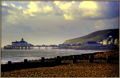 The Pier (* RICHARD M) Tags: sea england water sussex coast pier seaside piers shoreline cliffs coastal shore eastbourne beaches pebblebeach coastline resorts eastsussex englishchannel scapes groynes lamanche eastbournepier seasideresorts