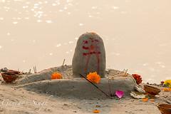 Shivling from Sand (gauravs82) Tags: flowers india sunrise river dawn sand worship shiva hinduism incense ganga ganges mela sangam allahabad prayag uttarpradesh yamuna shivling kumbh triveni