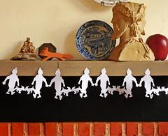 Tintin Scherenschnitte Paper Chain (Todd_Albert_Ulbrich) Tags: silhouette watercolor crafts tintin papercrafts paperchain scherenschnitte
